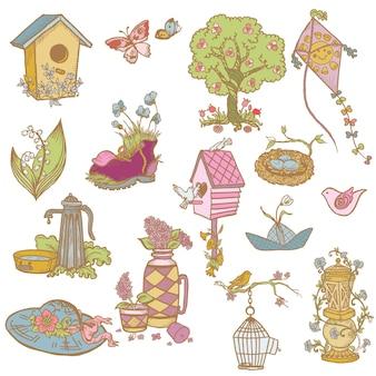 Éléments de conception de printemps colorés - pour scrapbook