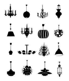 Éléments de conception de silhouettes de lustre noir sur fond blanc