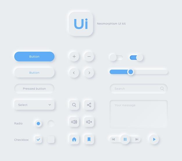 Éléments de conception de style néomorphisme néomorphique du kit ui