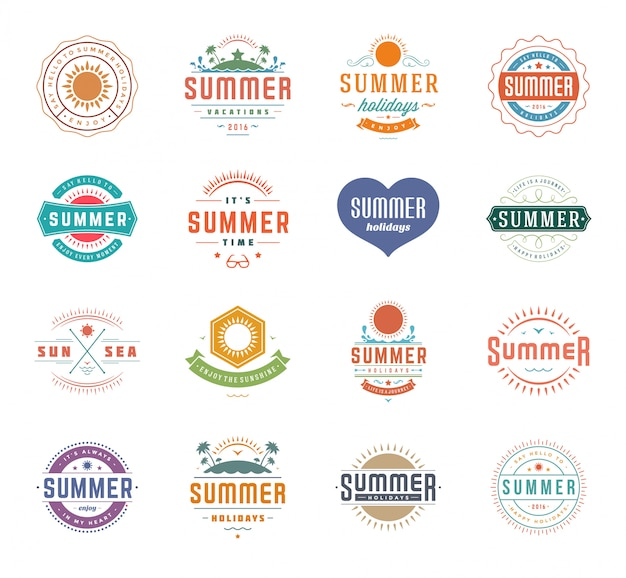 Éléments de conception de vacances d'été et typographie définie modèles vintage rétro.
