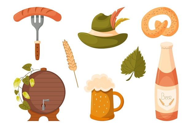 Éléments de conception de vacances oktoberfest avec chope de bière bouteille de saucisse chapeau baril de bretzel etc.