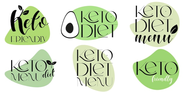 Éléments de conception de vecteur de régime alimentaire convivial keto. ensemble d'insignes.