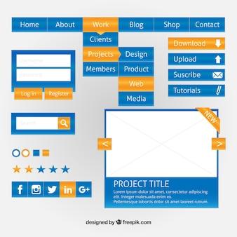 Éléments de conception web bleu avec détails jaunes