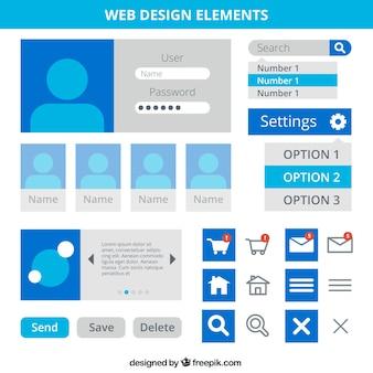 Éléments de conception web en couleur bleue