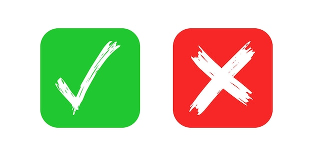 Éléments de contrôle et de croix dessinés à la main isolés sur fond blanc. grunge doodle coche verte ok et x rouge sur les icônes carrées arrondies. illustration vectorielle