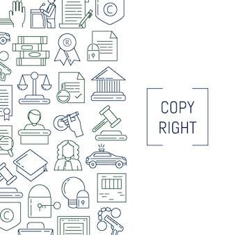 Éléments de copyright de style linéaire bannière et affiche avec la place pour le texte