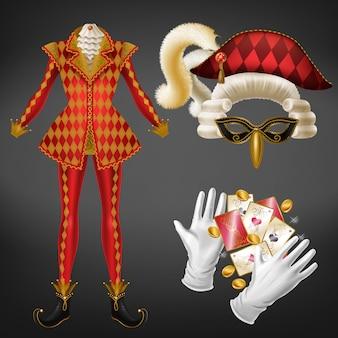 Éléments de costume joker réalistes avec veste rouge à carreaux, chapeau bicorne décoré de plumes moelleuses