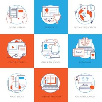 Éléments de couleur plats mis sur l'éducation en ligne thème avec bibliothèque numérique tutoriels vidéo recherche internet livres audio isolé illustration vectorielle
