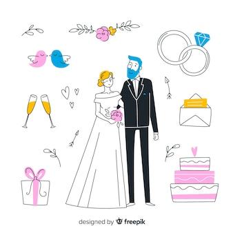 Éléments et couple de mariage dessinés à la main