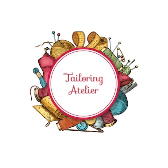 Éléments de couture dessinés à la main sous cercle avec la place pour l'illustration du texte. bannière de couture, atelier de couture à la main