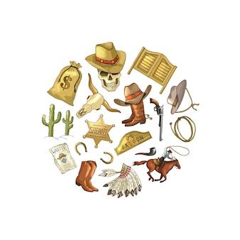 Éléments de cow-boy ouest sauvage dessinés à la main en forme de cercle