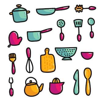 Éléments de cuisine de dessin animé de doodle
