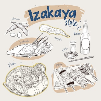 Éléments de la cuisine japonaise, le style izakaya. snack bar. main dessiner des croquis vectoriels.