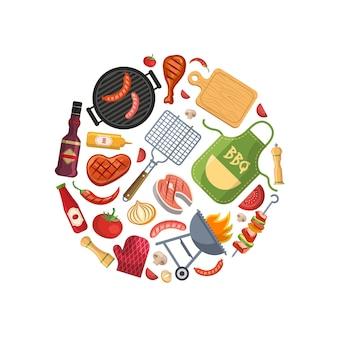 Avec des éléments de cuisson pour barbecue, grill ou steak en cercle