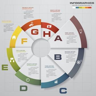 Éléments d'infographie moderne 8 étapes abstraites