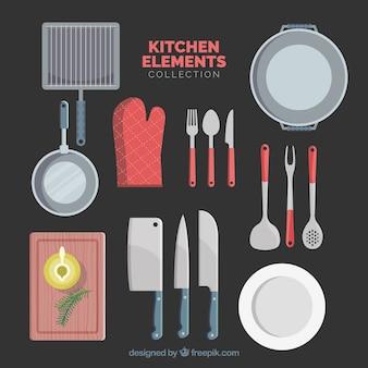 éléments de cuisine en dessin plat