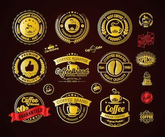 Éléments de logo et étiquettes de café d'or