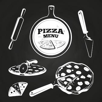 Éléments de pizza vintage pour étiquettes et design sur tableau noir