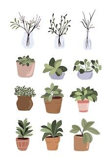 Éléments de décor de plantes en pot d'intérieur mis autocollant pouce vert pour bullet journal