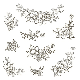 Éléments décoratifs de bouquete floraux magnifiques