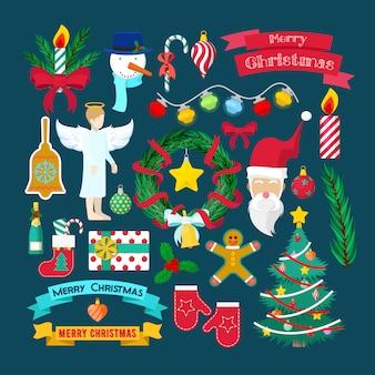 Éléments décoratifs de fête de noël joyeux avec le père noël, l'arbre de noël et les cadeaux. illustration