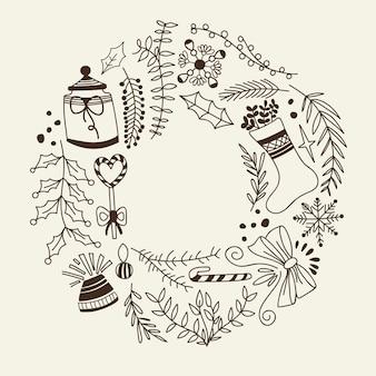 Éléments décoratifs de guirlande de noël monochrome doodle avec des vacances et des éléments créatifs