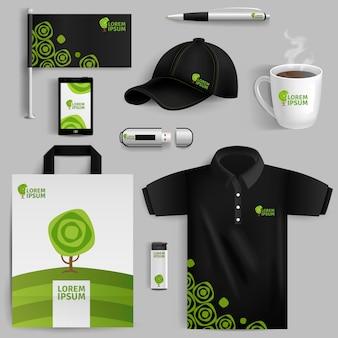 Éléments décoratifs de l'identité d'entreprise écologique