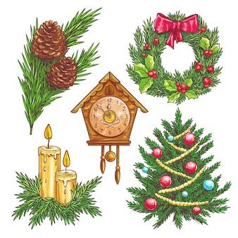 Éléments décoratifs de noël dessinés à la main