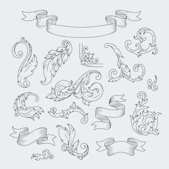 Éléments décoratifs de style baroque.