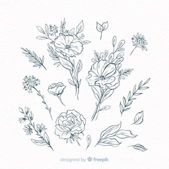 Éléments de décoration floraux dessinés à la main