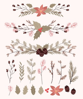 Les éléments de décoration de plantes de noël définissent un autocollant pour la conception de tourbillons de journal de balle