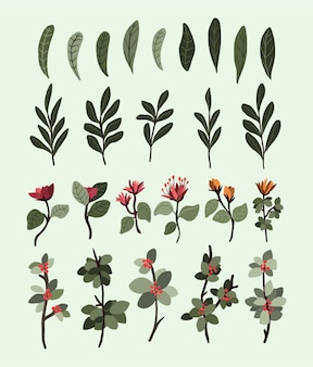 Les éléments de décoration de plantes de noël définissent un autocollant pour les tourbillons de bullet journal