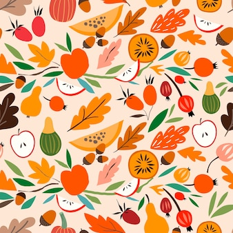 Éléments découpés saisonniers abstraits décoratifs de modèle sans couture automnal