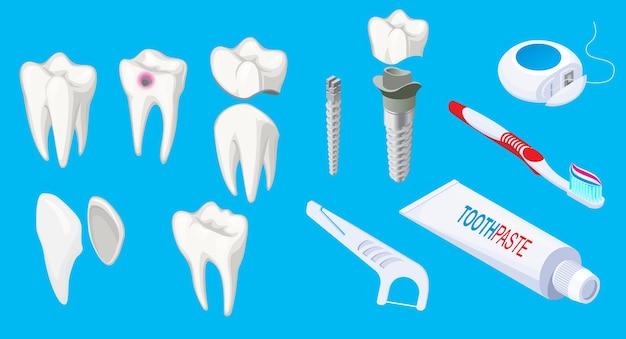 Éléments dentaires isométriques sertis d'implants de dents malades et saines dentifrice grattoir brosse à dents soie isolé