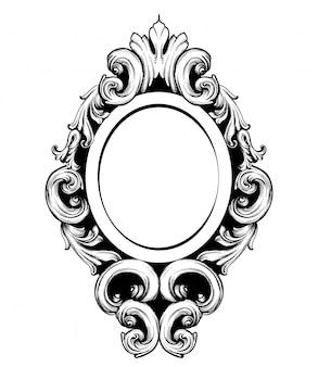 Éléments de design baroque cadre vintage miroir