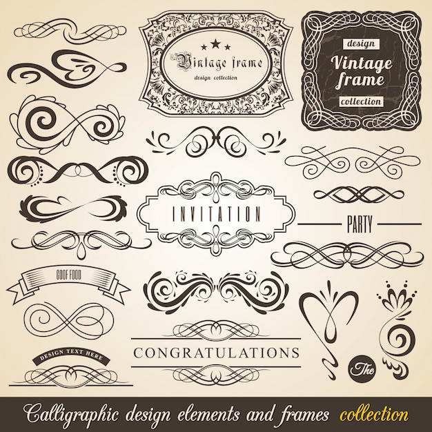 Éléments de design calligraphiques et cadres
