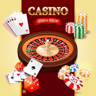 Éléments de design de casino avec roue de roulette, jetons, craps et cartes à jouer.