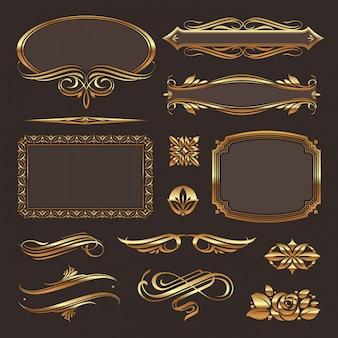 Éléments de design décoratif doré et décor de page.