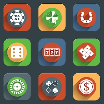 Éléments de design icône plate casino