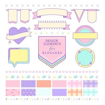 Éléments de design mignons et girly pour le vecteur de blogueurs