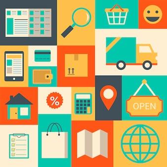 Éléments de design pour supermarché en ligne