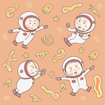 Éléments de design vecteur de personnages de dessins animés d'astronautes mignons dans les opérations spatiales.