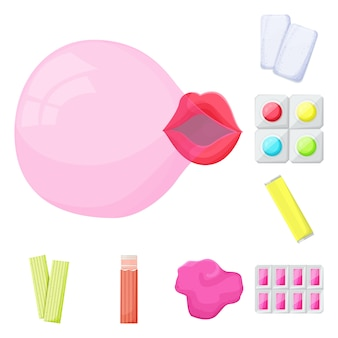 Éléments de dessin animé de fraîcheur chewing-gum. illustration isolée bubblegum. ensemble d'éléments de chewing-gum et de bulles.