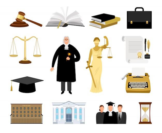 Éléments de dessin animé de juridiction et de loi