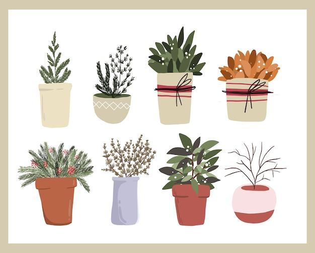 Éléments de dessin animé mignon de noël décor de plantes d'intérieur définir la conception d'autocollant