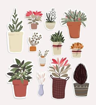 Éléments de dessin animé mignon de noël décor de plantes d'intérieur ensemble de conception d'autocollant