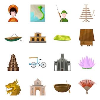 Éléments de dessin animé de pays vietnam. définir des éléments emblématiques de la culture pays vietnamienne.
