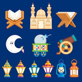 Éléments de dessin animé de ramadan