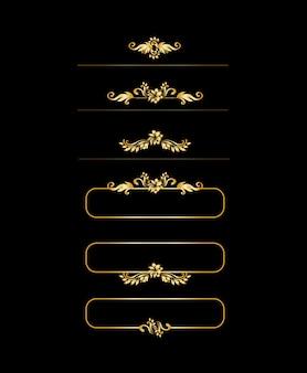 Éléments de dessin calligraphique doré. menu or et bordure d'invitation, cadre, diviseur, décor de page.