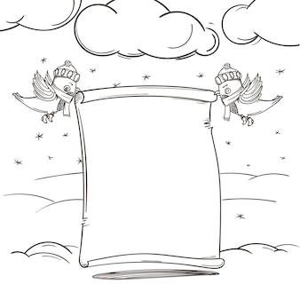 Éléments dessinés à la main de décoration de vacances de saison d'hiver. illustration vectorielle. espace de copie pour un texte